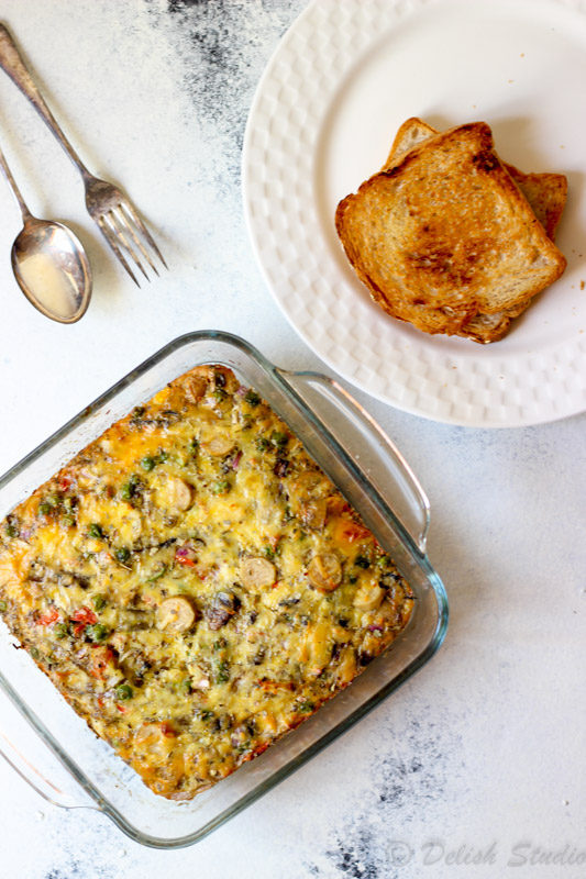 Mushroom Sausage Egg Bake (Egg Casserole)