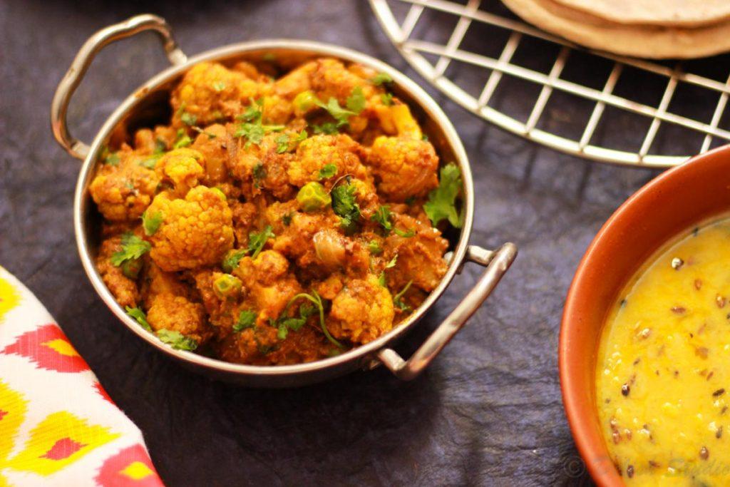 Shahi gobi masala ( cauliflower curry) with lentil as side