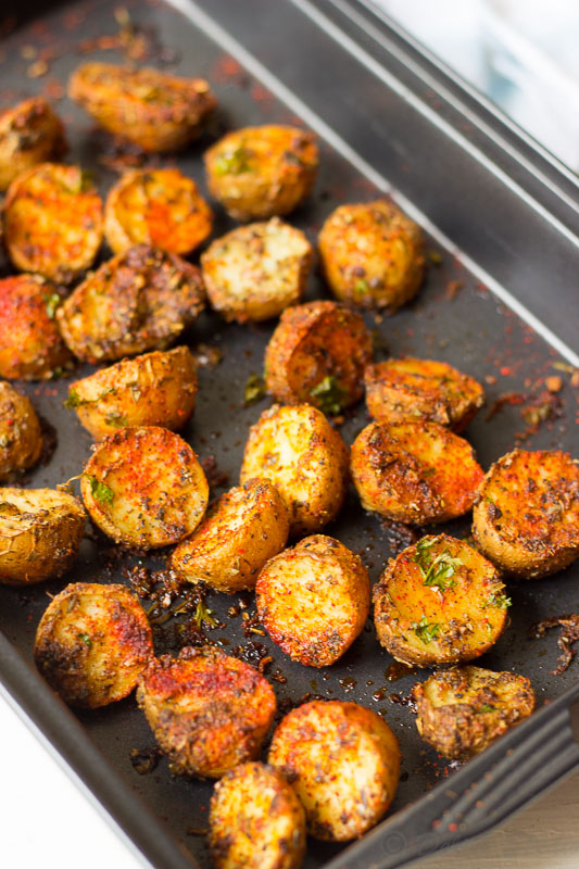 Crispy Spicy Cajun Roasted Potatoes just out of the oven